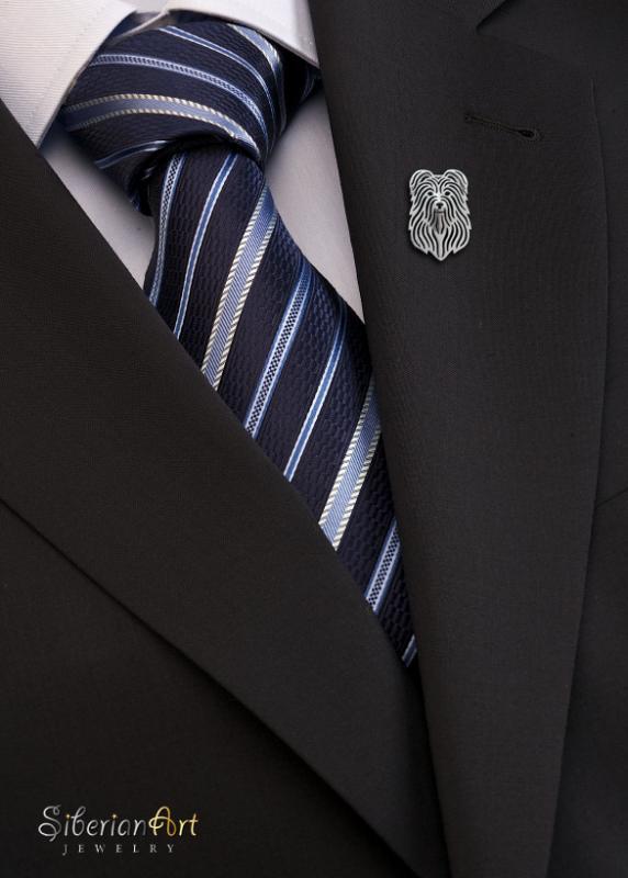 Pyrenean Shepherd brooch - sterling silver