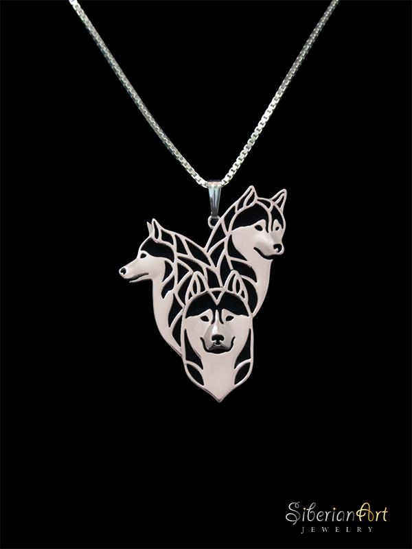 Siberian Husky family- sterling silver pendant and necklace.