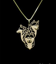 Siberian Husky family- gold pendant and necklace.